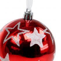 Kule świąteczne z gwiazdkami w kolorze czerwonym 2szt Ø8cm
