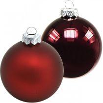 Kula świąteczna, ozdoba choinkowa, kule szklane czerwone wino H8,5cm Ø7,5cm prawdziwe szkło 12szt.