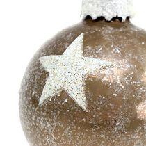 Kula świąteczna szklana z motywem gwiazdek jasnobrązowa Ø6cm 6szt
