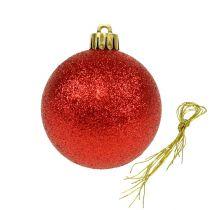 Kula świąteczna plastikowa czerwona 6cm 10szt