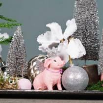 Kula świąteczna plastikowa srebrna 6cm 10szt