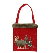 Torba świąteczna czerwona z futerkiem 15,5cm x 18cm 3szt.