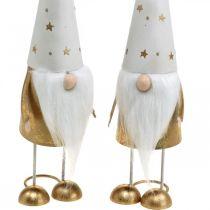 Skrzat Figurka dekoracyjna świąteczna biała, złota 6,5cm H28cm 2szt.