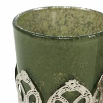 Lampion szklany metalowy dekor zielony liliowy Ø5,5cm H5,5cm 4szt.