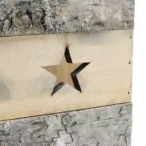 Latarnia z drewna brzozowego z uchwytem 14,5cm x 14,5cm H20cm