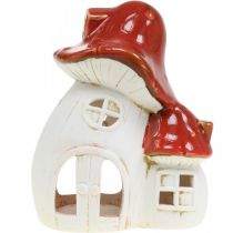 Lampka wiatrowa, domek z grzybkiem, podstawka pod tea light, dekoracja jesienna, ceramiczna H15cm 2szt.
