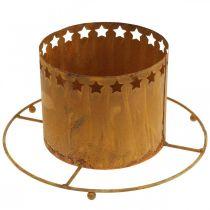 Lampion z Gwiazdami, Adwentowy, Metalowy uchwyt na wieniec, Dekoracja świąteczna Rdza Ø25cm