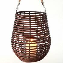 Dekoracyjna latarnia, dekoracja świecy z rączką, latarnia w koszyku Ø23cm W27cm