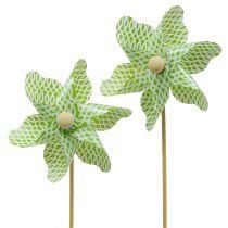 Wiatrak Mini zielono-biały Ø9cm 12szt.