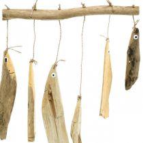 Morska ryba dekoracja, gong wietrzny z drewna dryfującego, drewniana dekoracja L50cm W30cm
