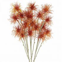 Xanthium Sztuczny Kwiat Jesień Dekoracja Pomarańczowy 6 kwiatów 80cm 3szt.