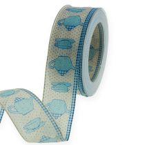 Taśma dekoracyjna z drucikiem niebieskim 40mm 20m