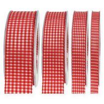 Wstążka prezentowa z czerwoną kratką o grubości 20m