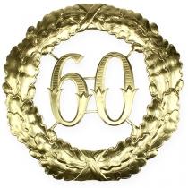 Rocznica numer 60 w kolorze złotym Ø40cm