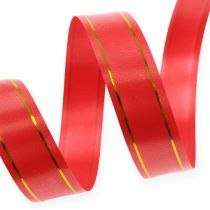 Wstążka prezentowa 2 złote paski na czerwonym tle 19mm 100m