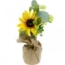 Sztuczny słonecznik, jedwabny kwiat, letnia dekoracja, słonecznik w worku jutowym