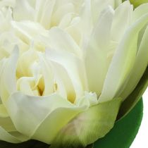 Sztuczny kwiat lotosu kremowy 13cm 4szt.
