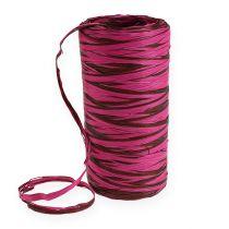 Wstążka rafia bicolor różowo-brązowa 200m