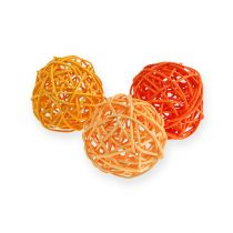 Kule rattanowe Ø4,5cm pomarańczowe asortyment 30szt.