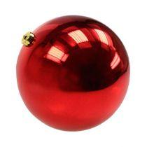 Piłka świąteczna średnia plastikowa czerwona 20cm