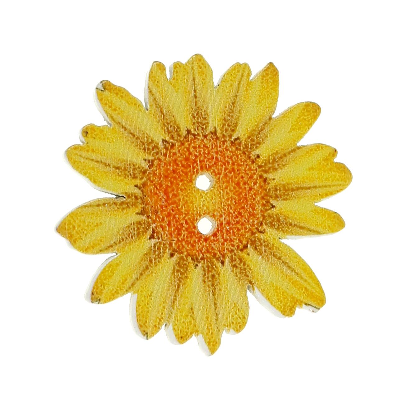 Kwiaty w kształcie guzików wykonane z drewna Ø3,5 cm sortowane 90p