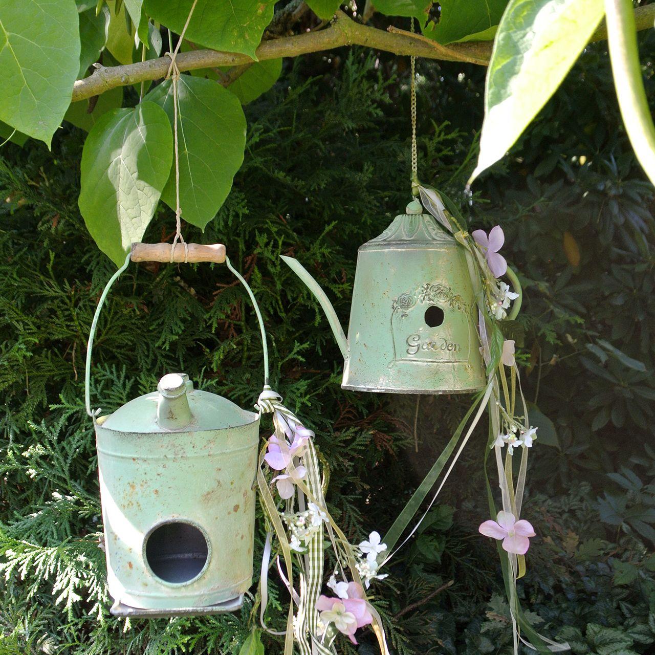 Domek dla ptaków puszka olejowa Antyczna zieleń Ø16cm H20cm