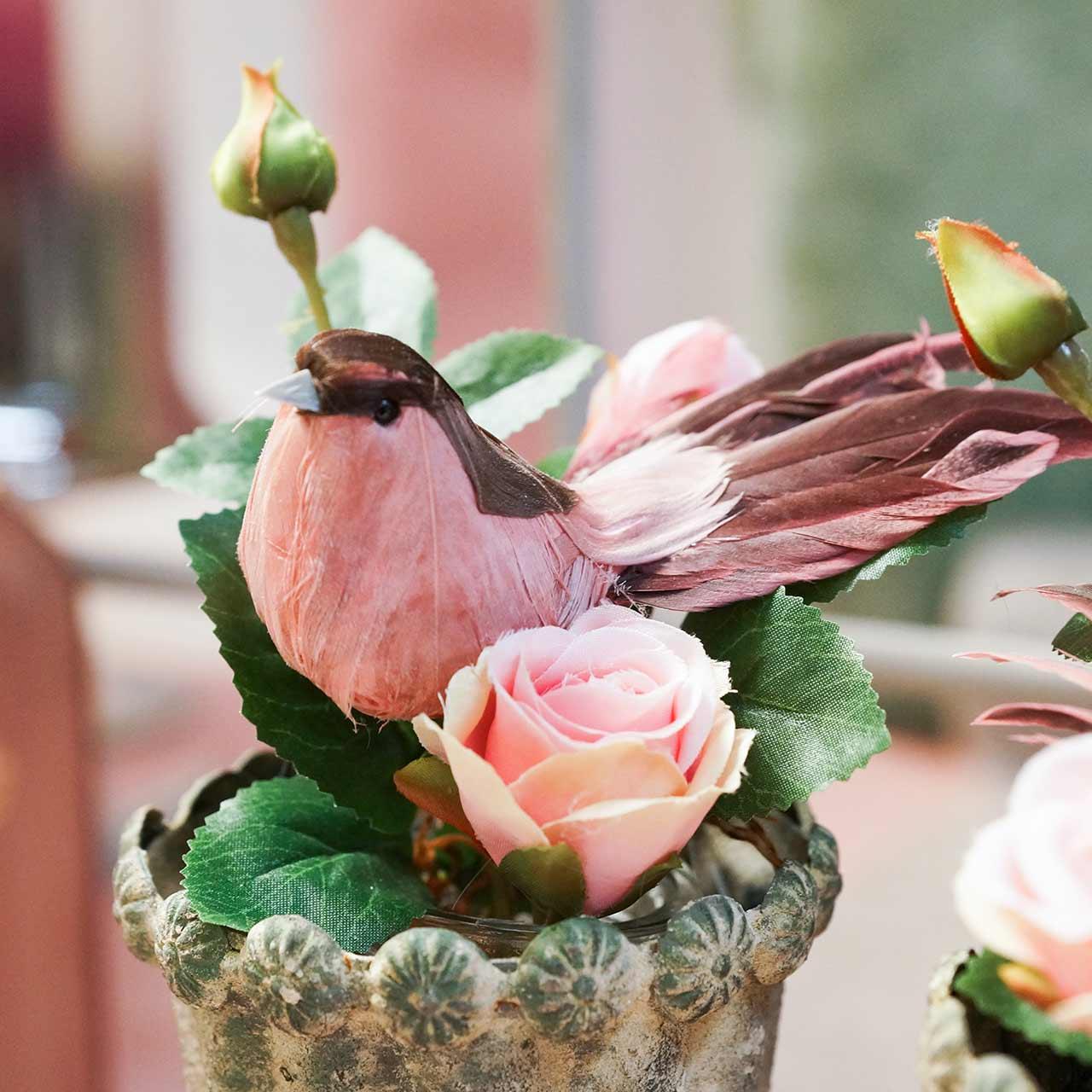 Ptaszek na druciku różowy 12cm 4szt.