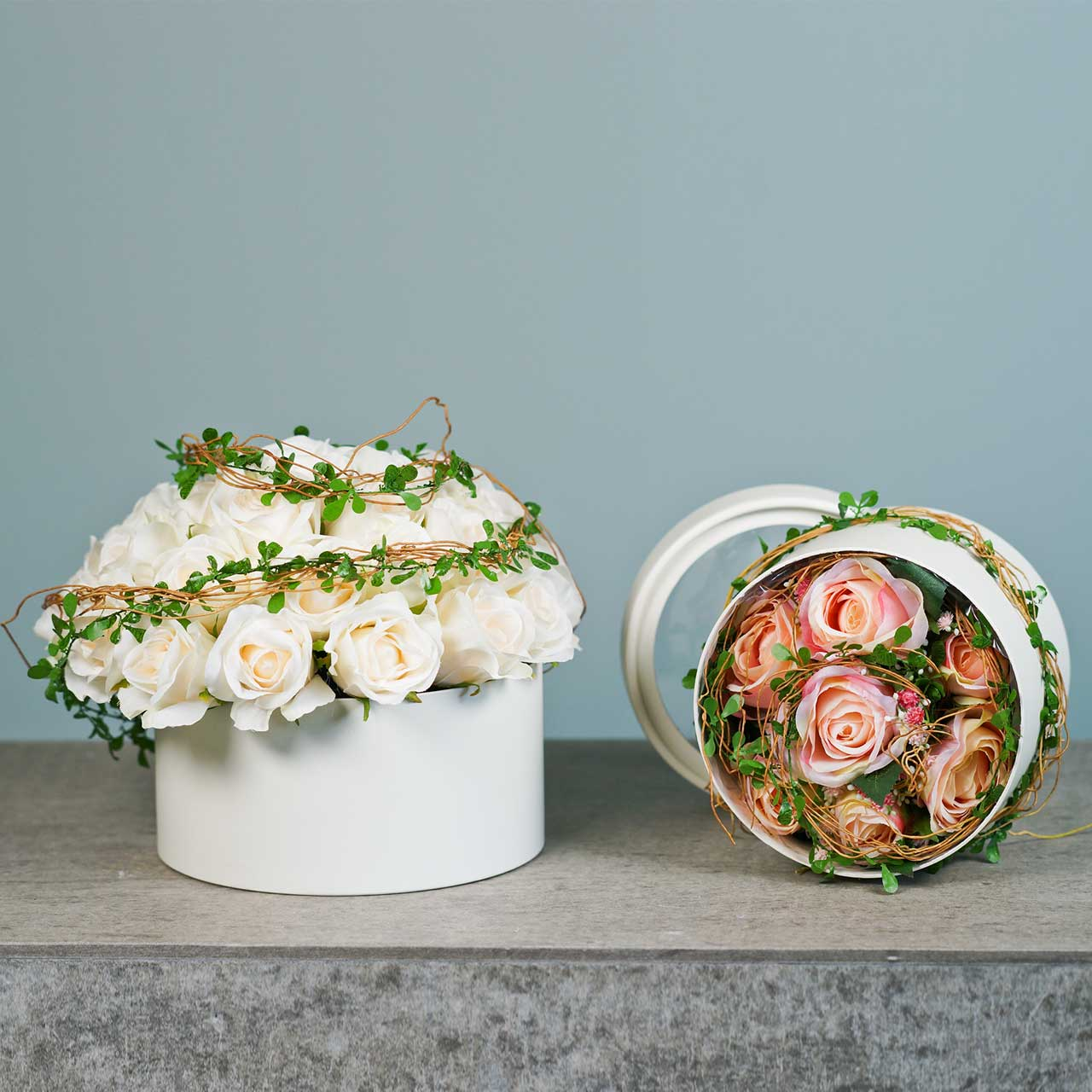 Flower Box Round Cardboard Cream Ø15,5/19cm Zestaw 2 szt.