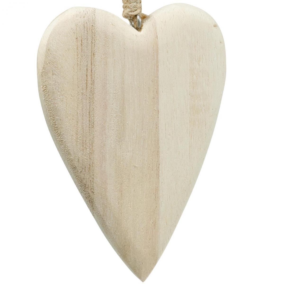 Drewniane serduszka do zawieszenia naturalne 10cm 4szt