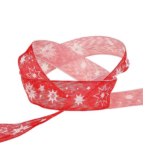 Wstążka świąteczna czerwona z motywem gwiazdek 25mm 20m