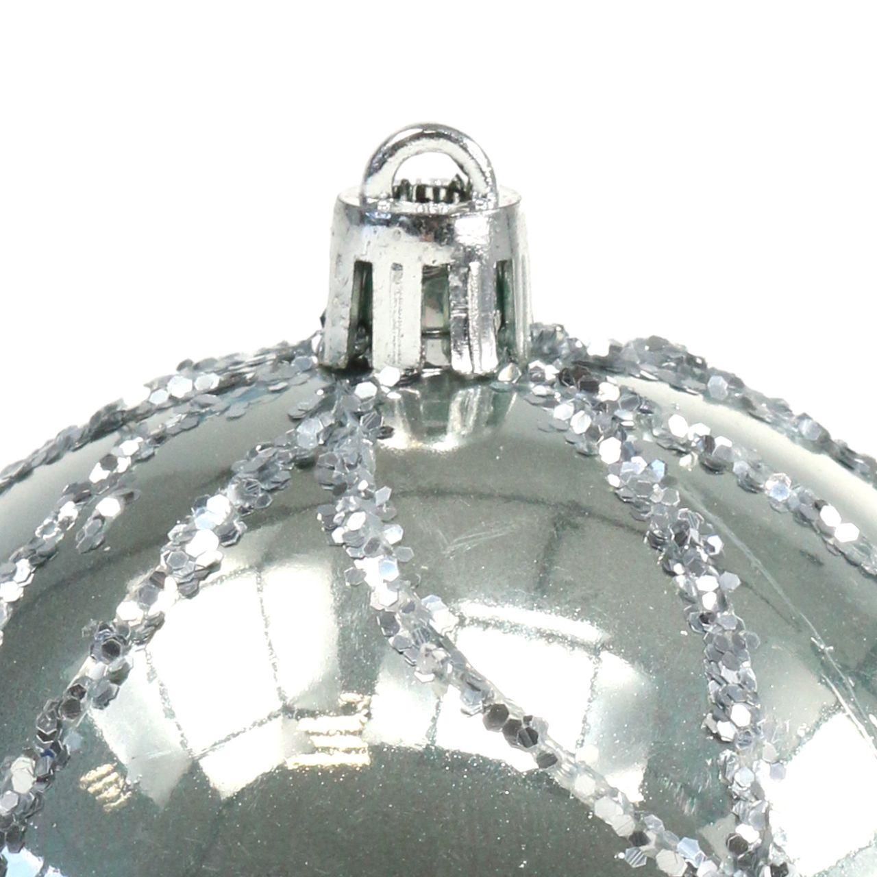 Kula świąteczna plastikowa srebrna Ø8cm 2szt.