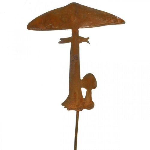 Rdza dekoracja grzybek ogrodowy wtyczka metalowa jesienna dekoracja 44cm