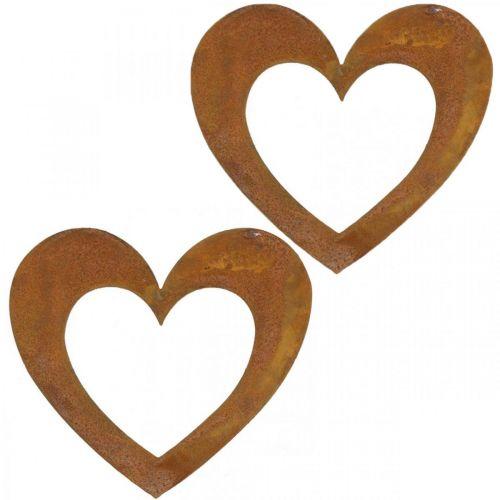 Serce Rdza Dekoracyjne Serce Ogrodowe Metalowe 15cm 6szt