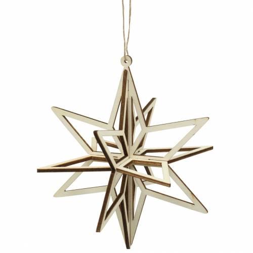Gwiazda 3D drewniana do zawieszenia 13,5cm 6szt.