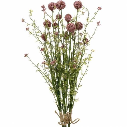 Kwiaty sztuczne Craspedia purpurowe Drumstick 3szt.