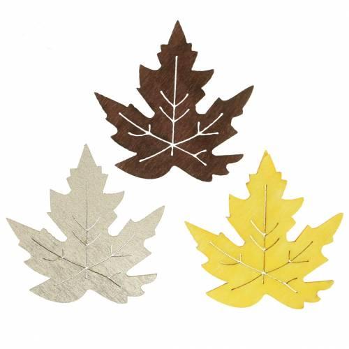 Rozproszone liście klonu żółty, brązowy, platyna Assorted 4cm 72szt