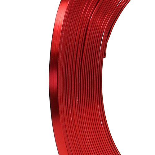 Drut płaski aluminiowy czerwony 5mm 10m