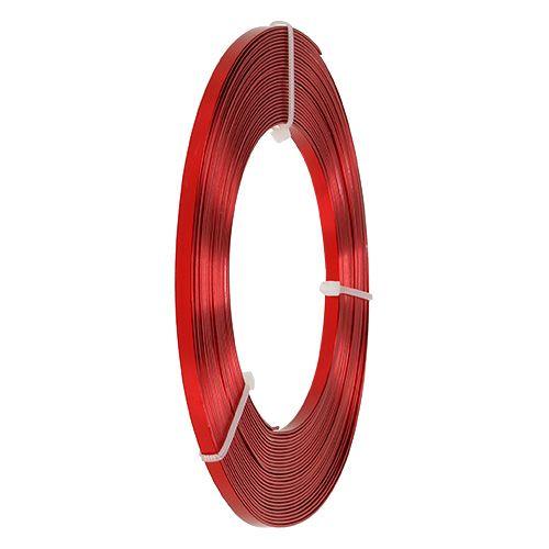 Drut aluminiowy płaski czerwony 5mm 10m
