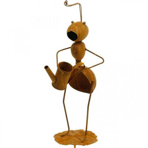 Dekoracyjna wtyczka mrówka, dekoracja łóżka, mrówka z konewką, wtyczka kwiatowa stal nierdzewna