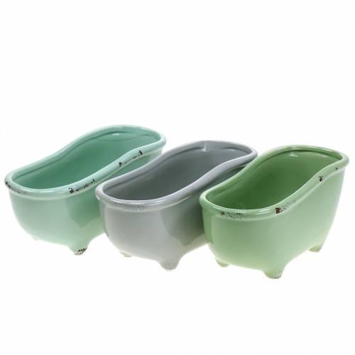 Wanna Deco Ceramic Grey, Green Assorted 22cm x 10cm H10cm Zestaw 3 szt.