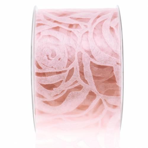 Wstążka dekoracyjna róże szeroka różowa 63mm 20m