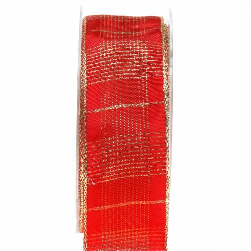 Taśma kontrolna z krawędzią drutu czerwona, złota 40mm L20m