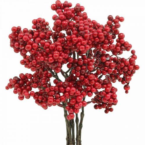 Deko Gałązka z czerwonymi jagodami Gałązka jesienna 26cm 6szt.