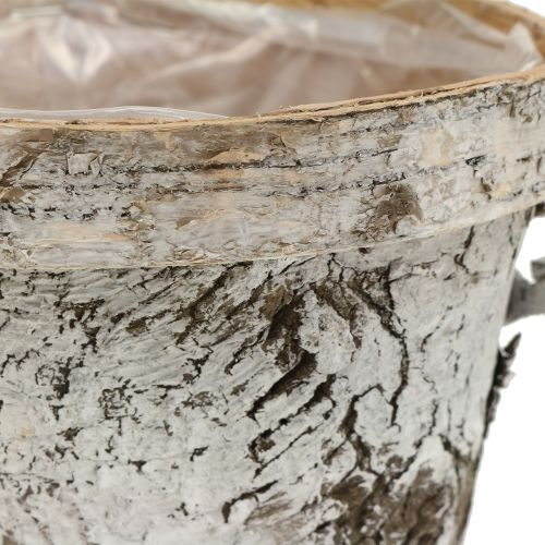 Doniczka brzozowa z obrzeżem średnia Ø16cm W13cm biała