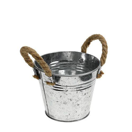 Wiadro cynowe z uchwytami linowymi błyszczące Ø12cm