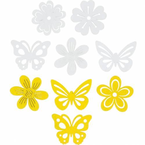 Kwiaty i motyle do posypania żółtą posypką, białą posypką dekoracją drewnem 72szt