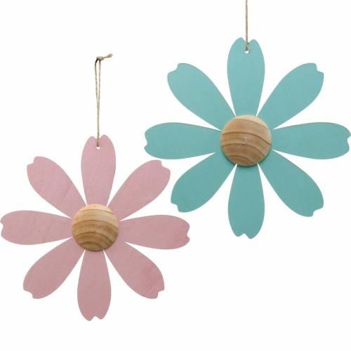 Kwiaty drewniane do zawieszenia, wiosenna dekoracja, kwiatki drewniane różowo-niebieskie, letnie, kwiatki ozdobne 4szt