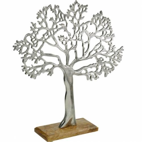 Metalowe drzewo, ozdobny buk na drewnianej podstawie, srebrna metalowa dekoracja, drzewo życia, drewno mango