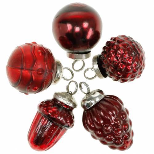 Mini ozdoby choinkowe mix jesienne owoce i kulki czerwone, srebrne prawdziwe szkło 3,4–4,4cm 10szt