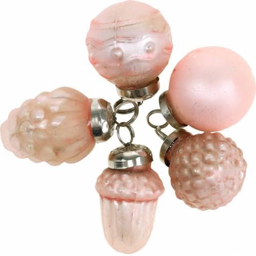Mini ozdoby choinkowe jesienne owoce i kulki różowe, srebrne prawdziwe szkło 3,4–4,4cm 10szt